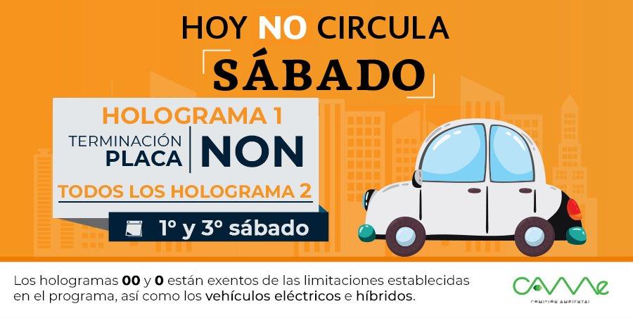 ¡Buenos días! #HoyNoCircula en el 3er Sábado de mayo en la #ZMVM: vehículos con HOLOGRAMA 1 terminación de placas #NON y TODOS los HOLOGRAMA 2.