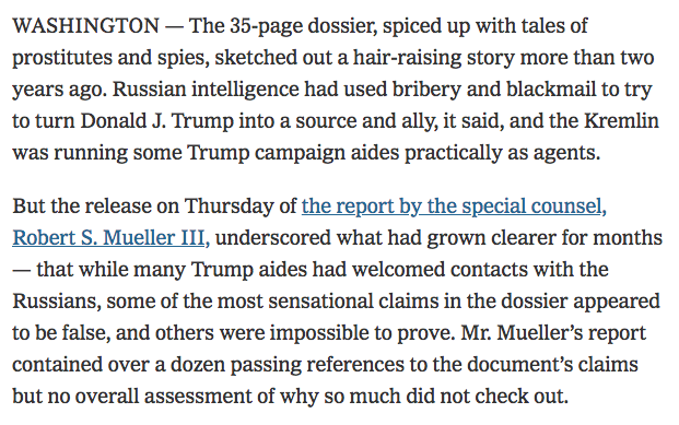 You are not going to believe this, but the New York Times says the Steele dossier is not true. http://ow.ly/neJi50qYTu8