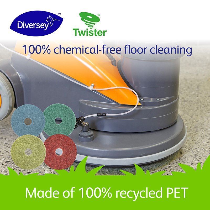 Did you know that you could get shiny floors from a 1.5L PET bottle? Our #TwisterbyDiversey Pads are made of 100% recycled PET embedded with billions of microscopic diamonds. Learn more: http://ow.ly/wU0T50pTzJU #EarthDay