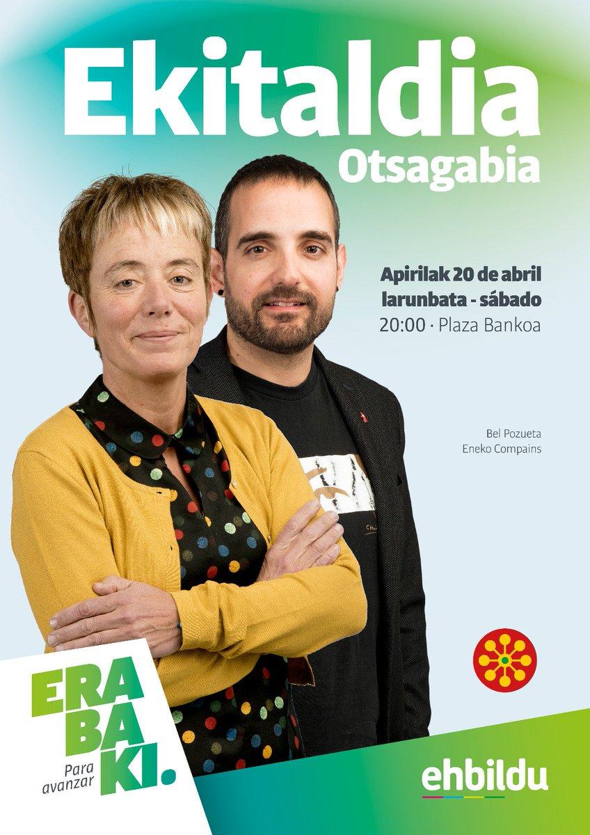 📆GAUR larunbata/ HOY sábado ⏰20:00 📍Otsagabia 👱♀️🧑Bel Pozueta eta @EnekoCompains  #Erabaki #ParaAvanzar #AurreraBel