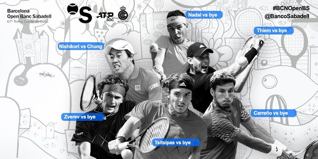 #BCNOpenBS | Els possibles quarts de final del torneig serien @RafaelNadal vs @StefTsitsipas,  @ThiemDomi vs @karenkhachanov, @keinishikori vs @fabiofogna i #AlexanderZverev vs @DaniilMedwed https://sab.to/2XuobbU