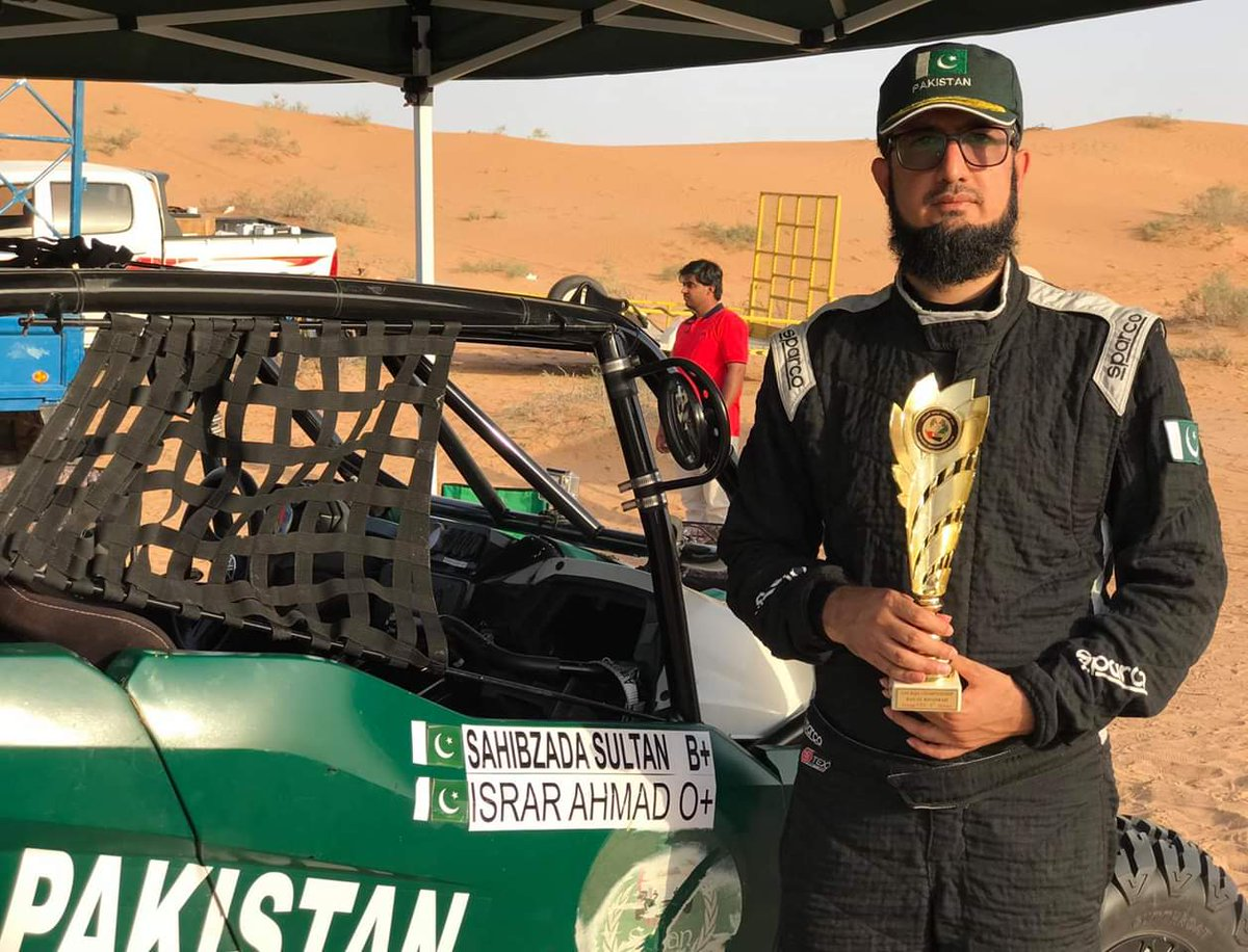 Congratulations to #SahibzadaSultan  on scoring 2nd position at UAE  Baja Championship.  #SahibzadaSultan has the honour to be first #Pakistani  to win a trophy  for our beloved country in an OffRoad race.   #TeamSultanBaja2019 #SultanBahadarAziz<br>http://pic.twitter.com/nswIMAO5CJ