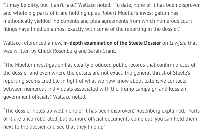 On MSNBC, Nicolle Wallace & Co. stood tall in defense of the Steele dossier. 'None of it has been disproven...Whole, big parts of it are holding up.' http://ow.ly/wgpH50qZ5O9