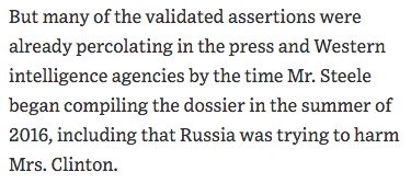 But what about those who say dossier was broadly accurate? That Steele got the big picture right? Russia really was trying to meddle in 2016 election! Proves Steele was good at reading the newspaper. From @WSJ: http://ow.ly/PGnY50qZ9fA
