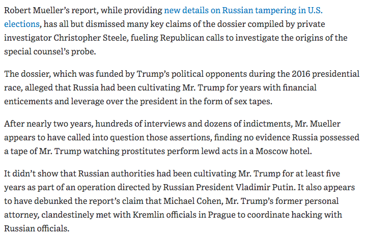 From @WSJ: 'Mueller Report Dismisses Many Steele Dossier Claims.' http://ow.ly/6fHb50qZ9dR