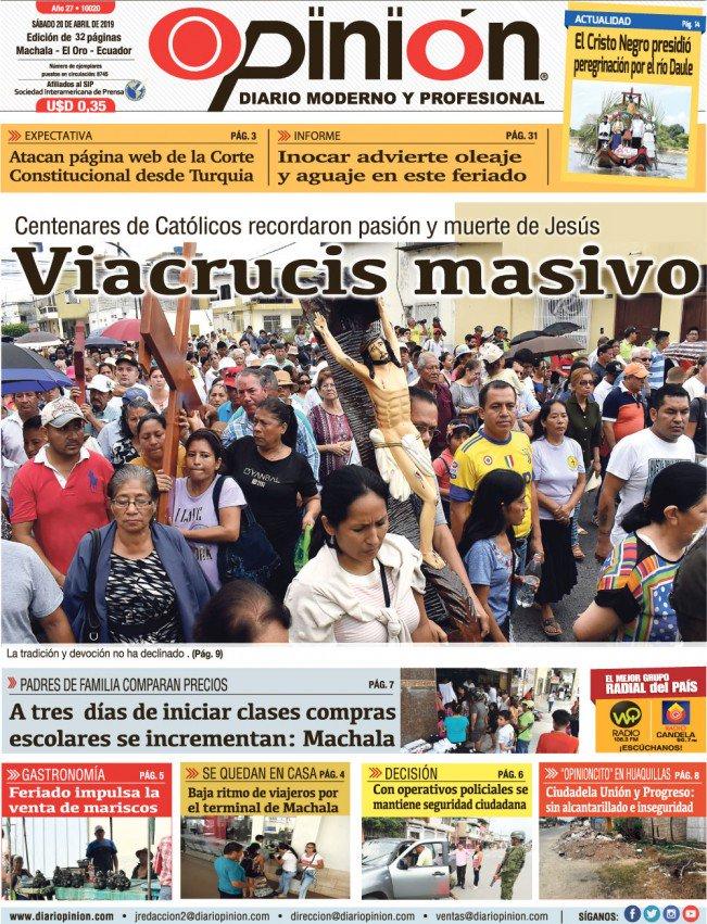 La #portada de hoy #sábado en Diario Opinión, diario moderno y profesional. Vea más noticias de la provincia, el país y el mundo aquí 👉http://www.diariopinion.com  #diariopinion #diario #moderno y #profesional #Machala #ElOro #Ecuador #prensa #mediodecomunicación #noticias