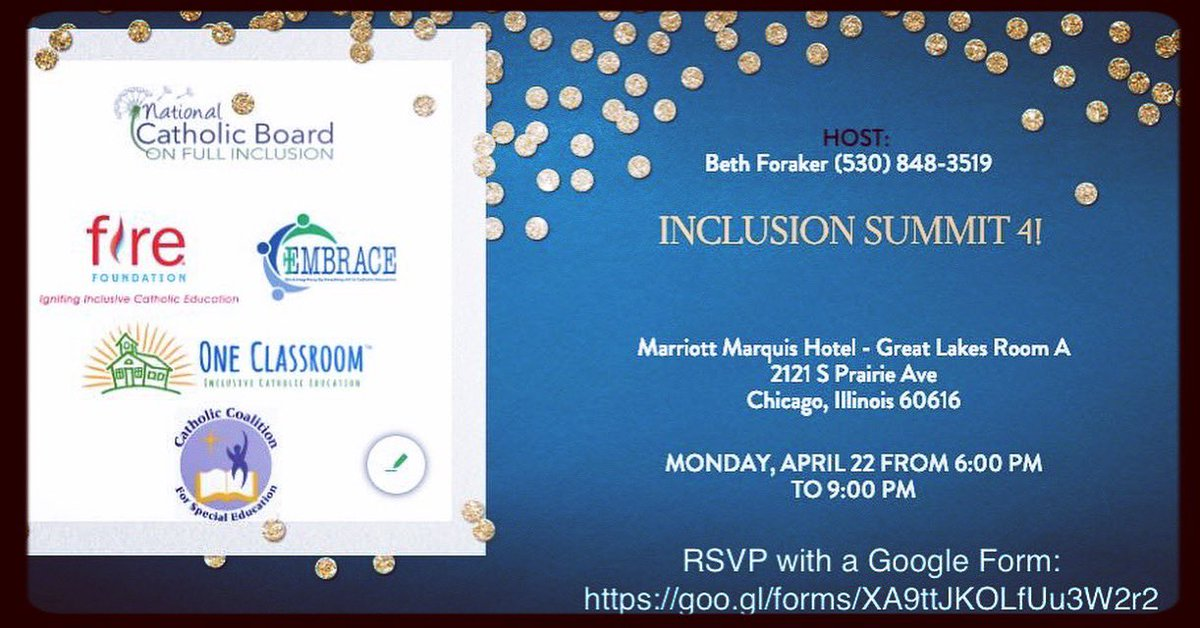 Inclusion Summit 4! 4/22 6-9pm Marriott Marquis - Great Lakes Room A