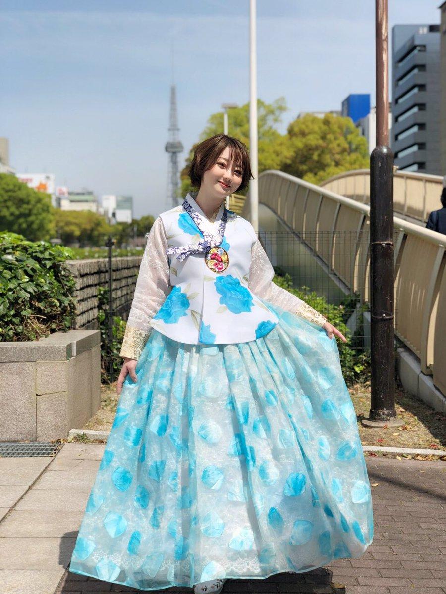 #韓国フェスティバル 1日目はこちらのチマチョゴリを着てお届けしました☺️水色の韓服初めて着たけど今日の青空にピッタリで最高でした‼️私の顔が浮腫んでいて丸いのはご愛嬌で😂