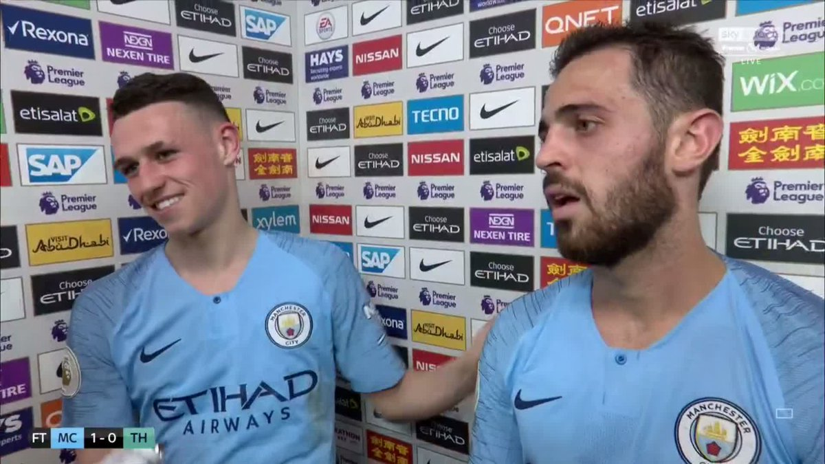 Great touch from Bernardo Silva giving his Man of the Match award to Phil Foden! 👍
