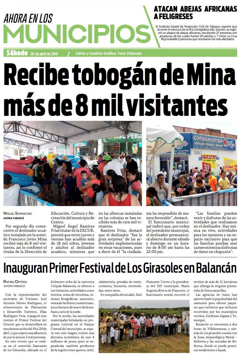 🔴 RECIBE TOBOGÁN DE MINA MÁS DE 8 MIL VISITANTES. En la #Portada de #Municipios.  Visita nuestro portal http://ahoratabasco.com