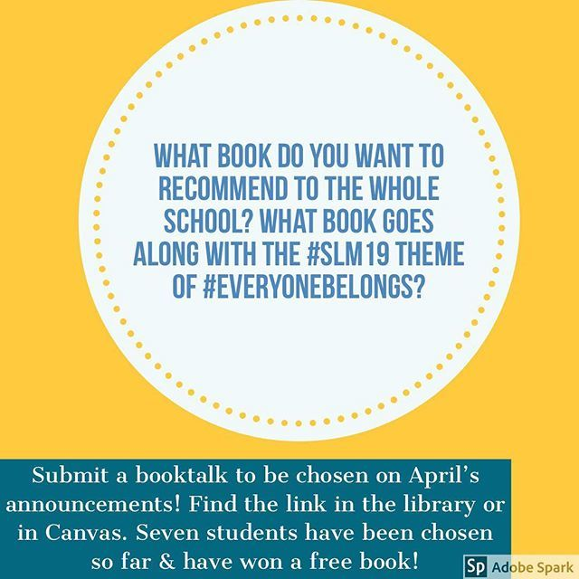 Recommend a book during #schoollibrarymonth! Some will be read on the announcements. #booktalk #slm19 #everyonebelongs #HIJHreads http://bit.ly/2PkcUbn