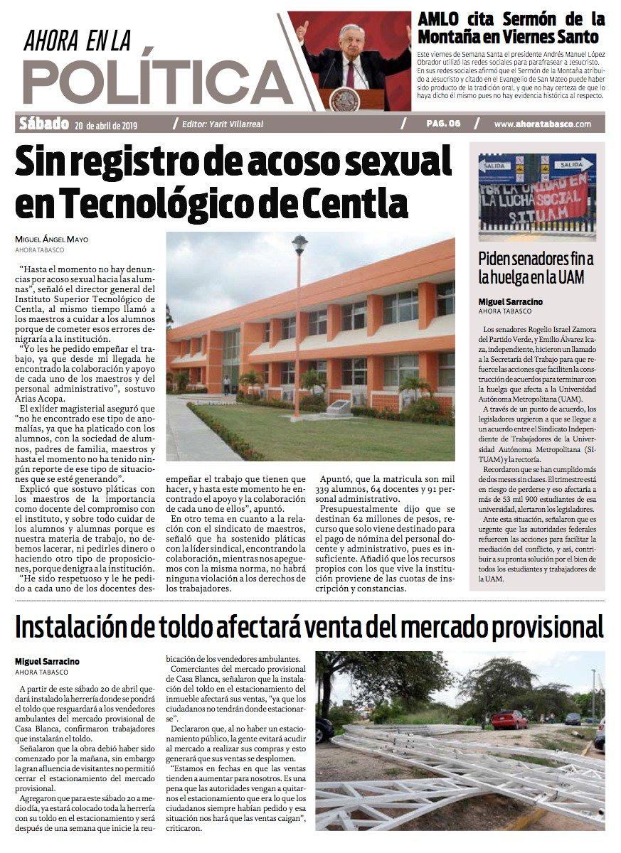 🔴 SIN REGISTRO DE ACOSO SEXUAL EN TECNOLÓGICO DE CENTLA. En la #Portada de #Política.  Visita nuestro portal en http://ahoratabasco.com