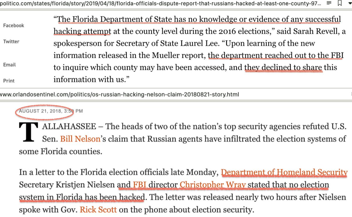 #Florida asked that pertinent information be shared. The FBI declined... having denied last summer that there were any hacks on the state's systems.