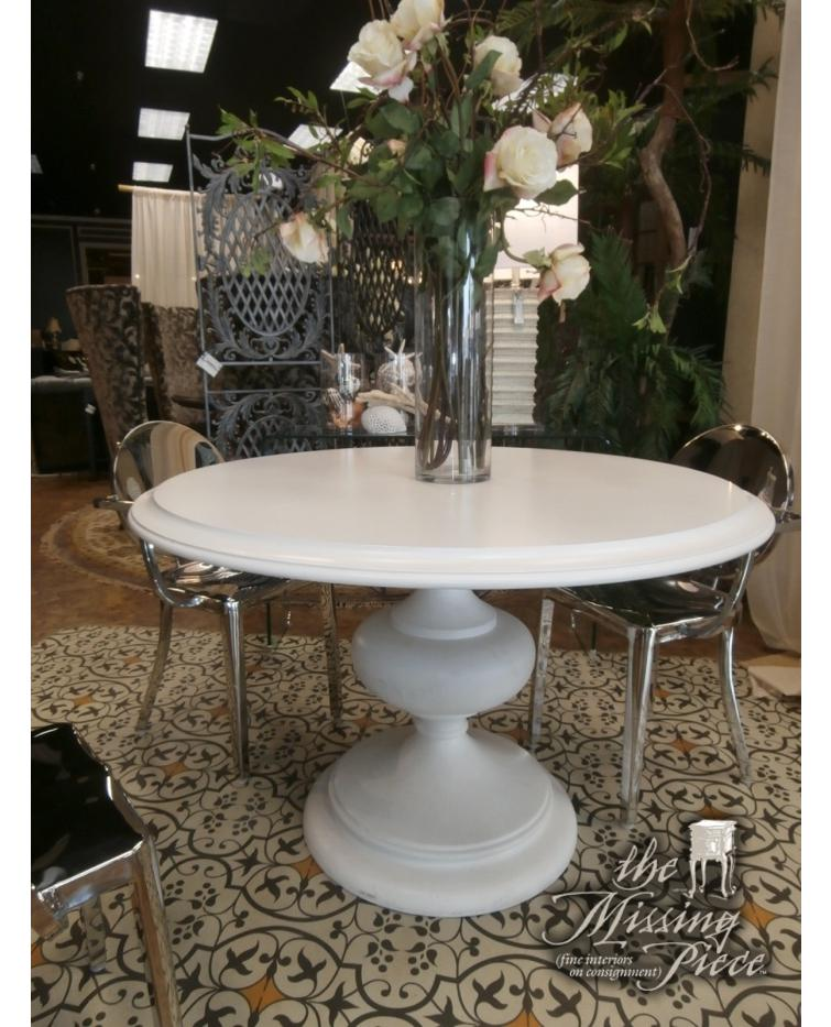 """ZGallerie pedestal dining table in white measuring 48"""". Just add chairs. (Don't you just LOVE the chairs posted here with them?!) #furniture #florida #tampa #themissingpiece #consignment http://qoo.ly/wvbiz"""