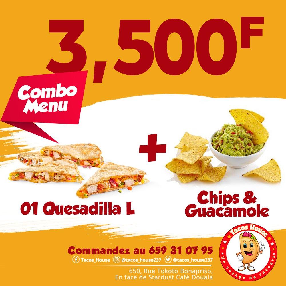 Testé le #ComboMenu de @tacos_house237 composé de #quesadilla L et de #chips et #guacamole pour seulement 3500 FCFA.  Le #restaurant est situé sur la rue Tokoto à #Bonapriso.