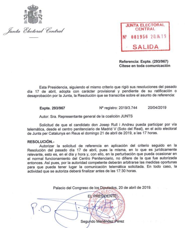 Atenció! Demà podrem escoltar en @joseprull per primer cop en molt temps. La JEC ha autoritzat que participi a l'acte de @JuntsXCat a Reus. Una grandíssima notícia. #FreeTothom