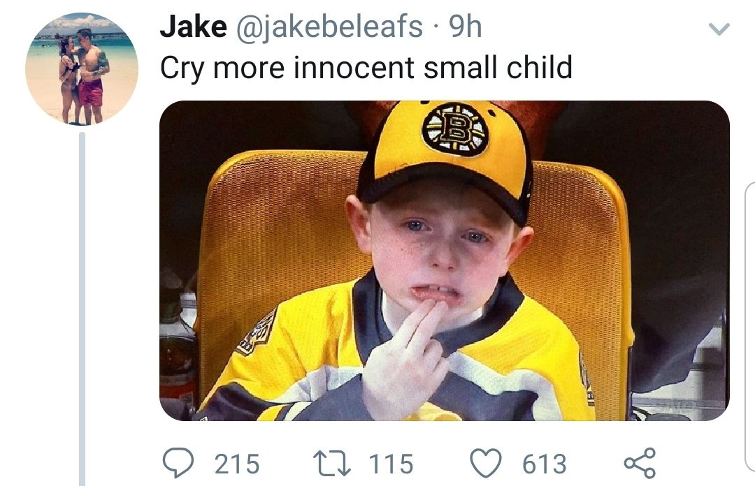 People call me evil because I traded their favorite player.  So what do we call #LeafsForever fans that mock a child upset his #GoBruins lost? #LeafsNation needs to start deporting those people liking and sharing this. #BeBetter