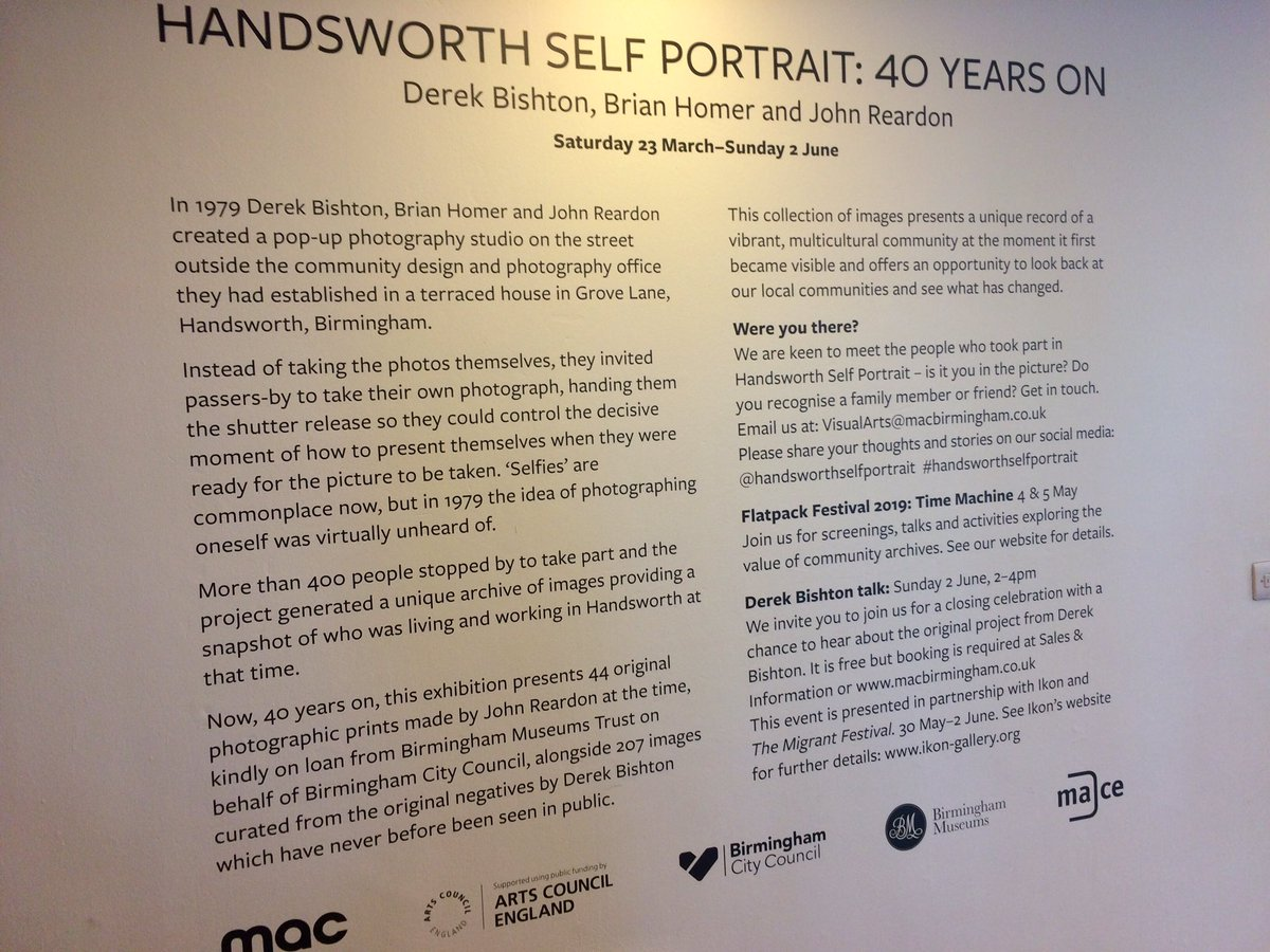 """Cannot recommend the #HandsworthSelfPortraits exhib @mac_birmingham enough. Fascinated by every single image (wonder where there are now?) Also thanks to the lovely man who insisted I posed against the end shots as he """"could tell how much I was enjoying it"""" #originalselfies"""