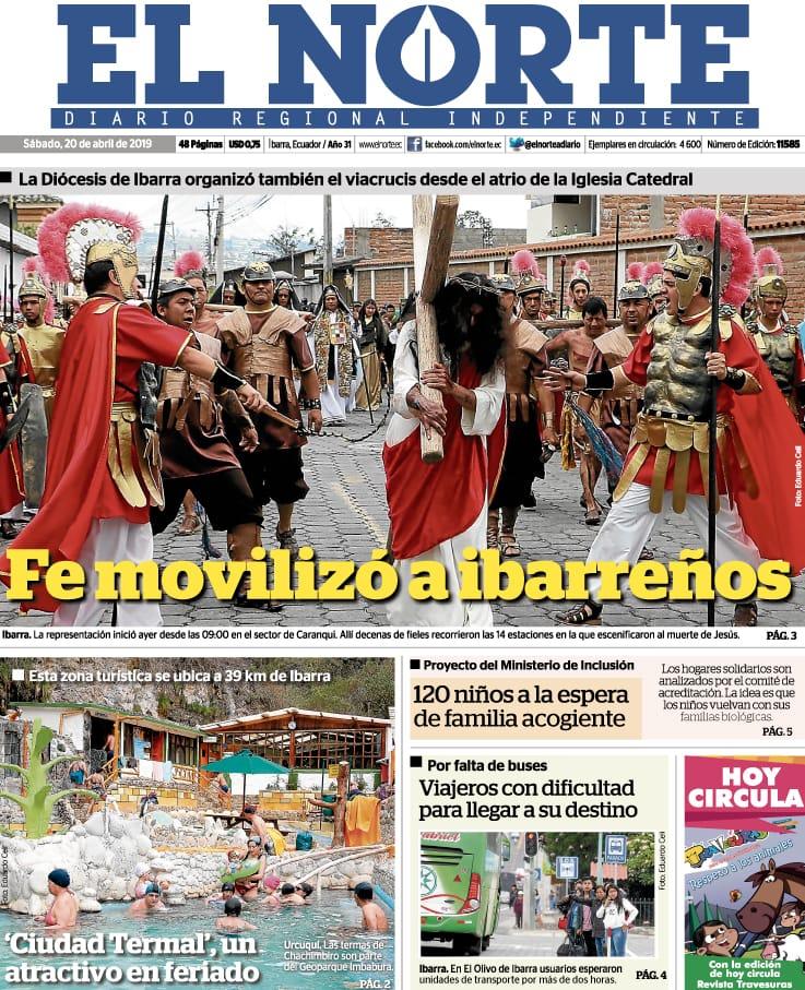 Buenos días. Compartimos la #portada de diario EL NORTE este #sábado #feriado