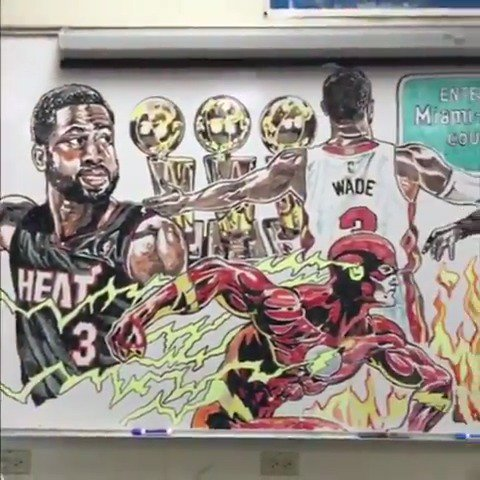 This whiteboard @DwyaneWade mural is unbelievable. (via jcoreyartist/IG)