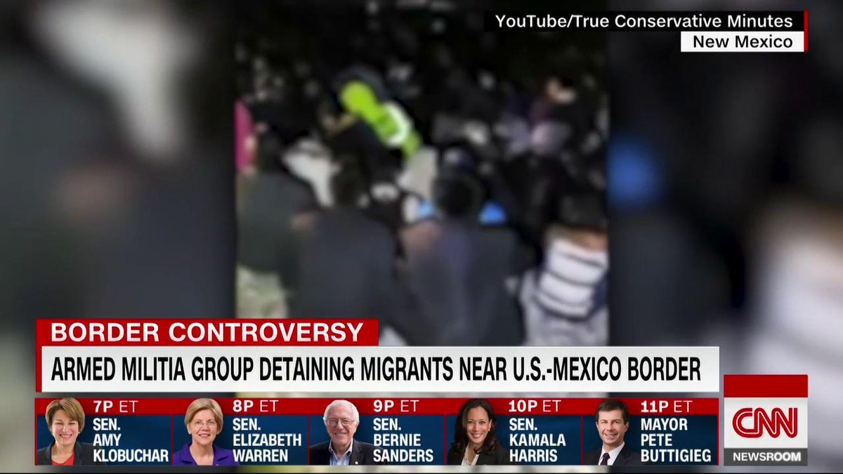A militia group near the US-Mexico border detained hundreds of people this week, New Mexico's attorney general told CNN.  Video footage shows people in full military fatigues, with handguns strapped to their sides, wearing gloves and face masks. https://cnn.it/2GzsNbo