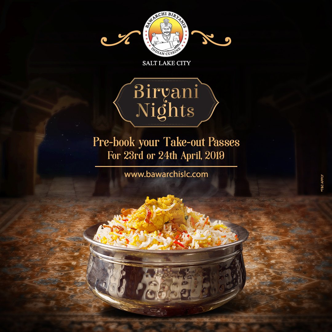 You are just a few clicks away to pre-book your takeaway passes for the exclusive #BiryaniNights on 23rd and 24th April, 2019. Log on to http://www.bawarchislc.com . . #indianfood #indiancuisines #foodstagram #foodies #foodlove #slc #utah #instautah #wowutah