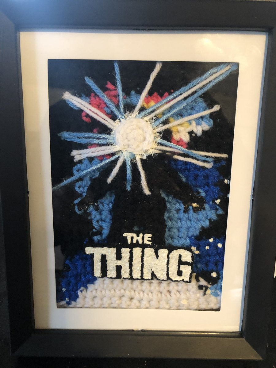 It only took a million years, but I finally framed my crocheted 'The Thing' poster <br>http://pic.twitter.com/LFirToT0ec