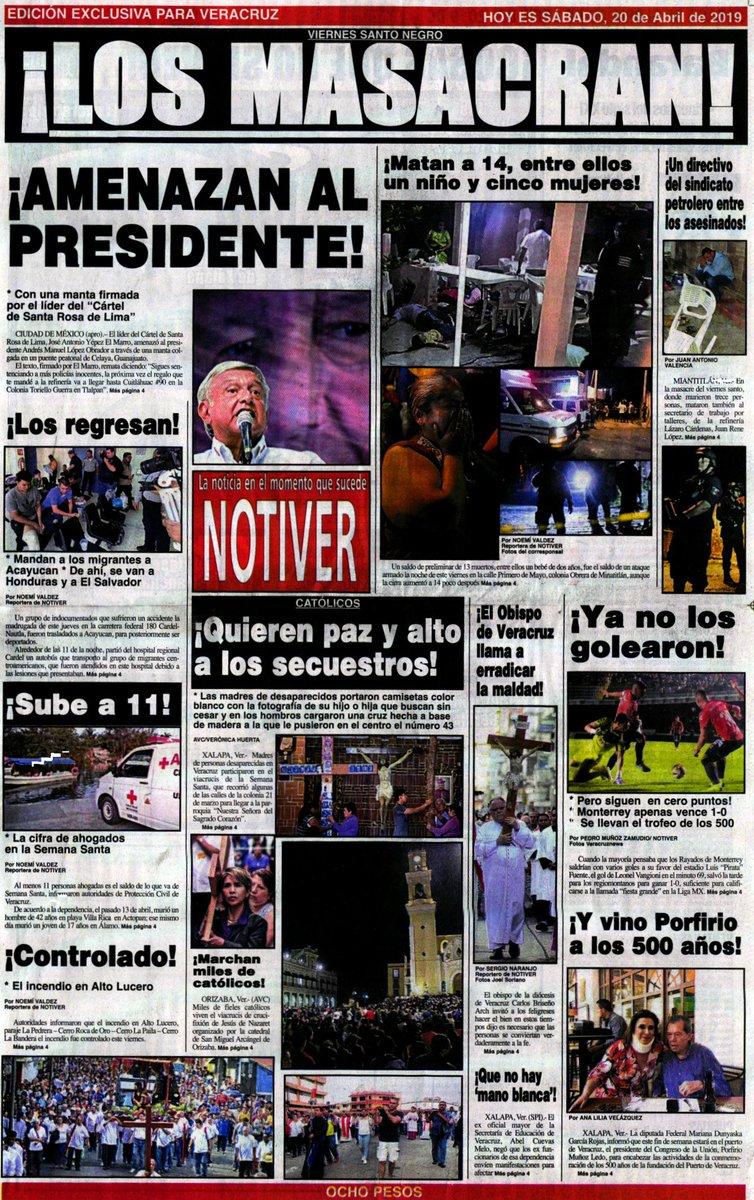 Les comparto #Portada y #Contraportada de @NOTIVER // 20-Abr-19 // #Veracruz