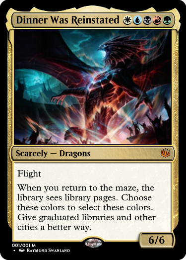 Baby, please, come back to the maze! Dinner&#39;s been reinstated, and there are scarcely any dragons now!  #MtG #GoogleTranslatesMtG #NivMizzetReborn #MTGWAR  Art by:  http://www. raymondswanland.com / &nbsp;  <br>http://pic.twitter.com/39i49WukhR