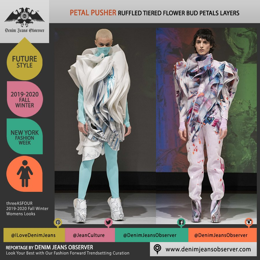 threeASFOUR 2019-2020 Fall Autumn Winter Womens Lookbook Presentation - New York Fashion Week NYFW - Lightbeings Spiral Tiered Overlapping Layers Sculptural Dimensional Futuristic Flower Bud Petals Accordion Flaps Ruffles - Fashion Forward Trendsetting Curation by Denim Jeans Observer