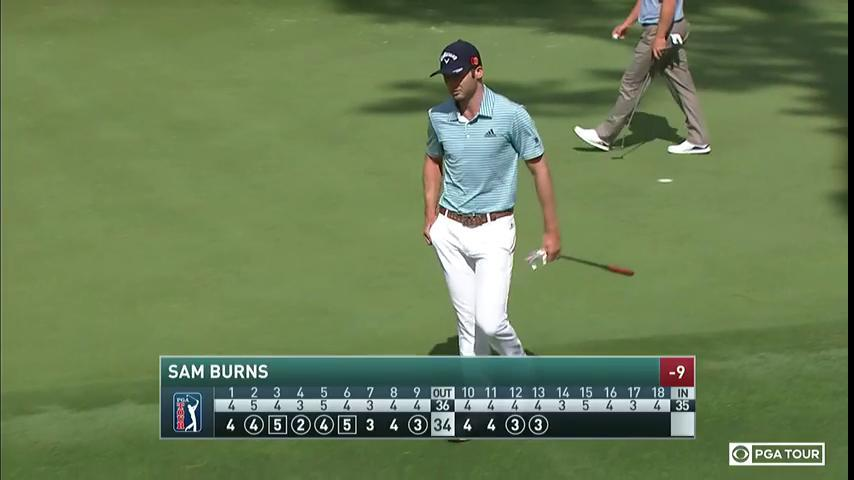 Sam Burns moves into a tie for second place after back-to-back birdies.