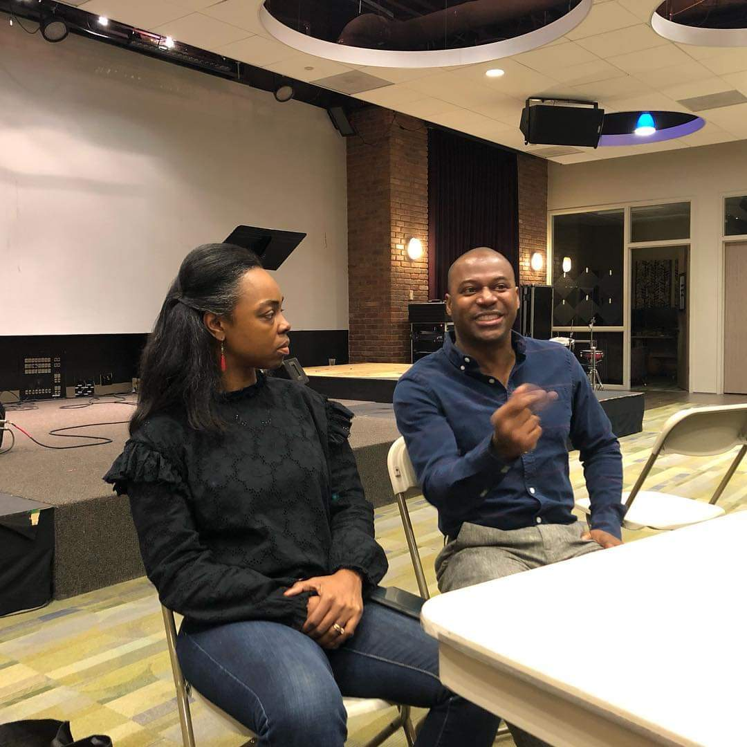 This week @ArlingtonJones & @hopenjones1513 shared about life, music business & the future with the students at @visiblemc Dallas campus. Thanks to @KarlaNivensENT for having us!