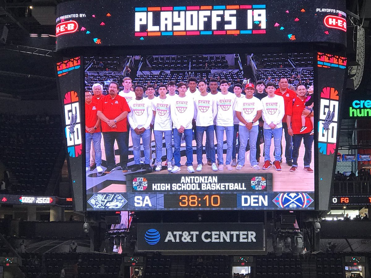 S/o @AntonianBBall! Recognized for their state title before Game 4.