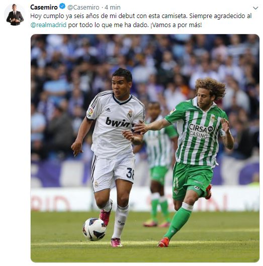 """🇧🇷👏 ¡DE ANIVERSARIO! """"Siempre agradecido al Real Madrid por todo lo que me ha dado"""". El MENSAJE de @Casemiro el día que se cumplen SEIS AÑOS de su debut con los blancos."""