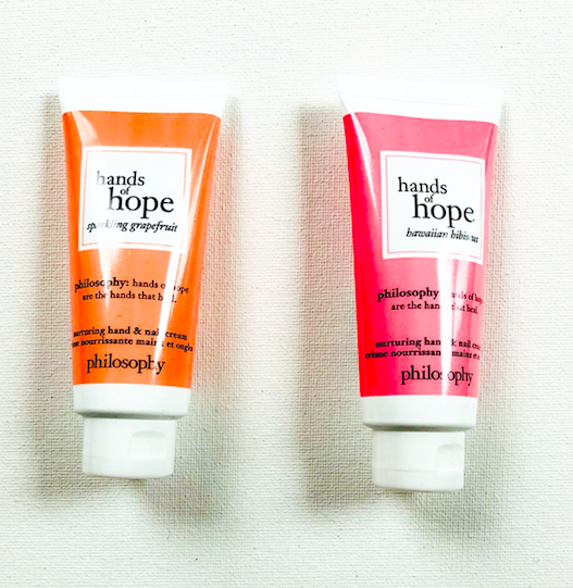 """Today's luxe skincare giveaway is philosophy's hands of hope in """"sparkling grapefruit"""" and """"hawaiian hibiscus"""". Very good hand cream formula. To enter, follow @davelackie & RT"""