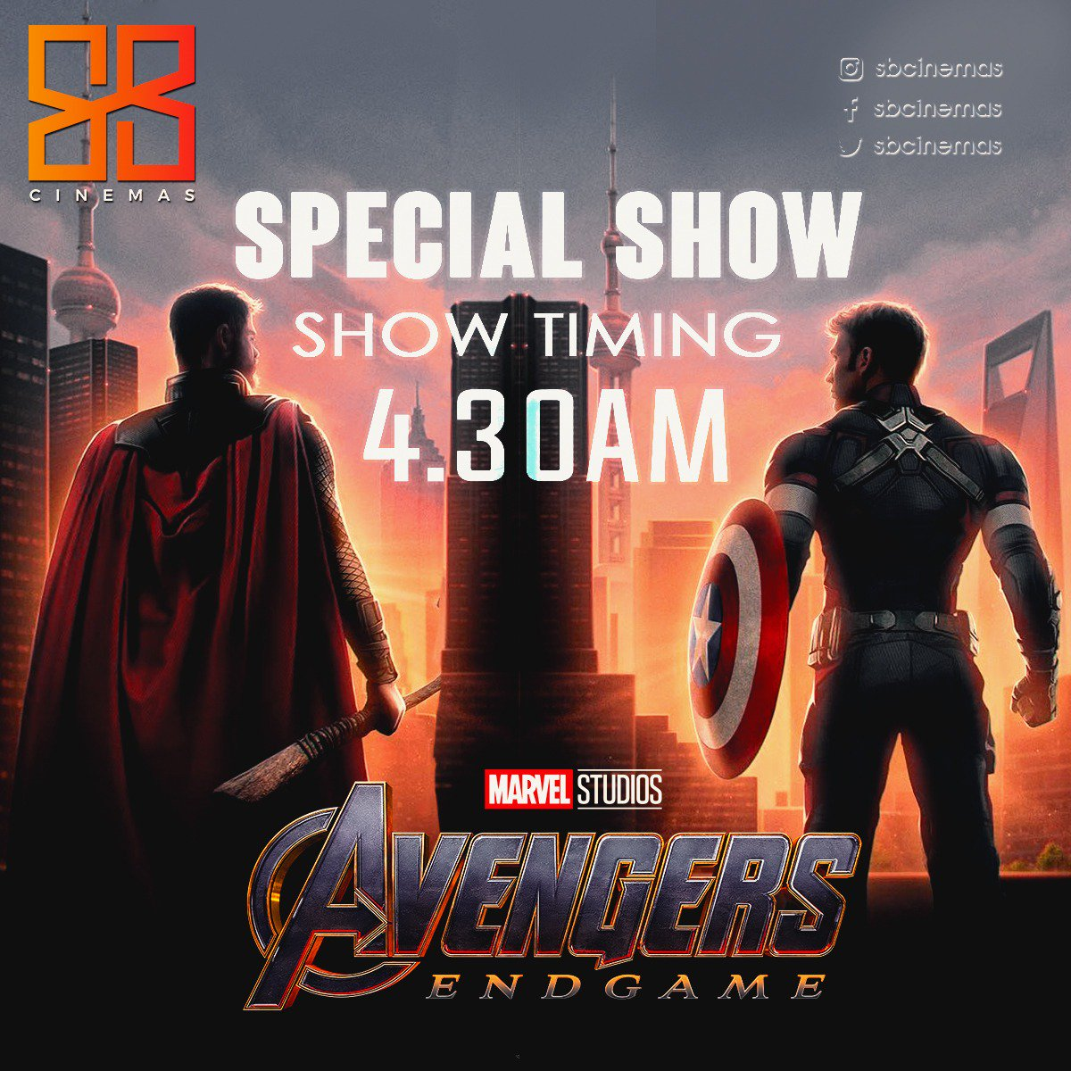 AVENGERS END GAME,ENGLISH 3D,4:30 AM.  Hey guys, the moment we all Marvel fans have been waiting for is finally here.  GRAB YOUR TICKETS SOON, BE THE FIRST ONE TO WATCH THE MOVIE !  Bookings open tomorrow morning.  #Endgame #MarvelStudios #BookMyShow # #AvengersEndgame