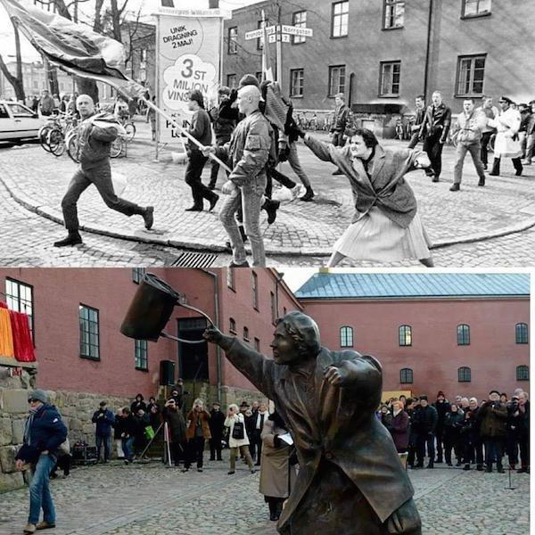 En 1985 una mujer le pegó un bolsazo en la cabeza a un neonazi. 34 años después, por fin tiene su estatua.   https://blogs.publico.es/strambotic/2019/04/bolsazo-a-un-neonazi/…