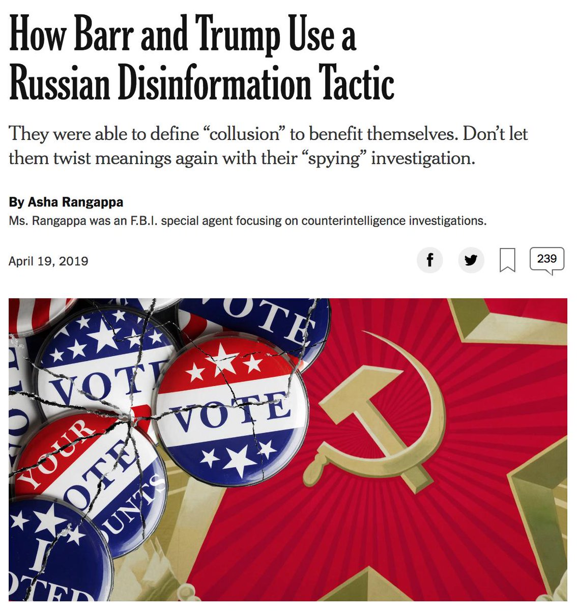 After all this time, the NYT is still publishing columns about Trump/Russia featuring the hammer-and-sickle. Really, what's there to say anymore? These people are simply beyond reason