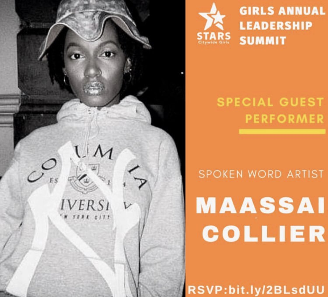 Cannot wait for @Maassai_ 's performance at the 5th Annual #STARSCGI Girls Annual Leadership Summit! 4/23, RSVP with Lisbett@girlswritenow.org, for more info: https://t.co/aLd4A2oePb @PowerPlayNYC @SadieNash  @girlsclubny @ArmoryNYC @GGENYC @RowNewYork @grndswell @FSinHarlem https://t.co/tJZaS70YDC