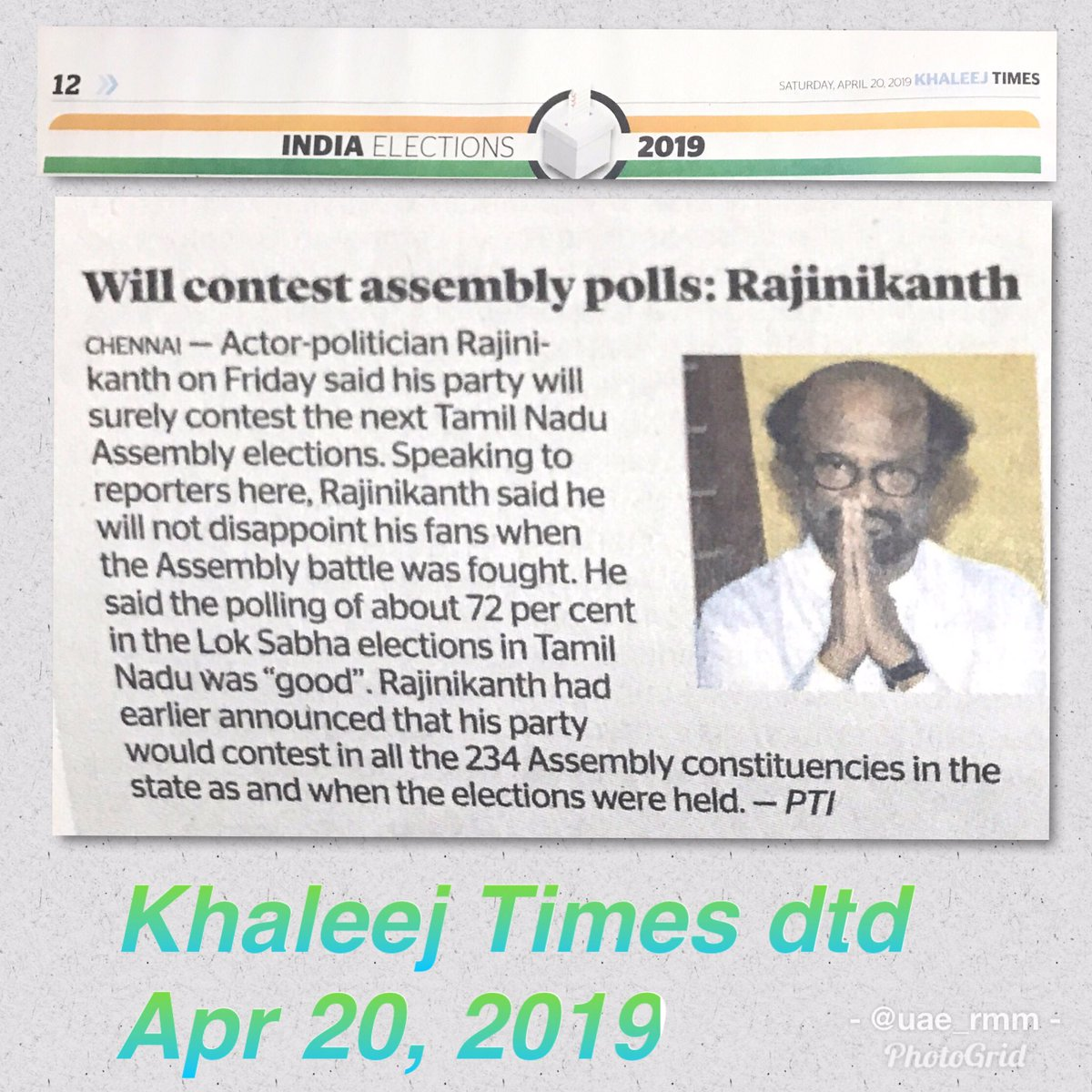 #Thalaivar political announcement about being ready to face TN assembly elections anytime has sent ripples across the state. Middle East newspaper @khaleejtimes has covered this news as part of India elections update. <br>http://pic.twitter.com/3O2S6SqGZA