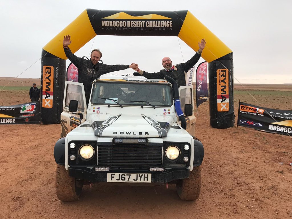 What a day! Three Bulldogs from the Bowler Motorsport team cross the MDC finish line after 8 incredible stages through Morocco from the coast of the Atlantic to the Mediterranean. #MDC2019 #BowlerMotorsport<br>http://pic.twitter.com/tN6Sxb4j5r