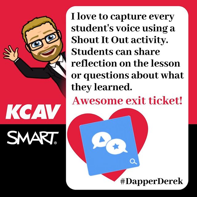 Shout it out is one of our favorite student response tools in the SMART Learning Suite!! So much love for this great brainstorming option. #DapperDerek @SMART_Tech  http:// bit.ly/2ZqpTgb  &nbsp;  <br>http://pic.twitter.com/le4PZvJn6T