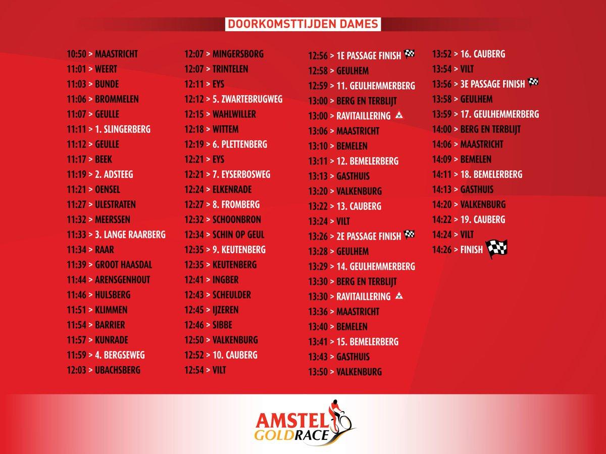 test Twitter Media - Waar ga jij morgen kijken? Check hier de route en doorkomsttijden van de mannen en de vrouwen race van de Amstel @Amstelgoldrace 2019 #agr #AmstelGoldRace https://t.co/4bxaDxfFEF