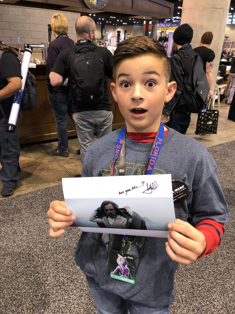 I couldn't be a part of @SW_Celebration this year, so I sent along a stack of autographed photos to be given to random unsuspecting fans. Thanks to @ThatChrisA for handing them out & for sending some snapshots of their reactions. Here's a few of my favorites: