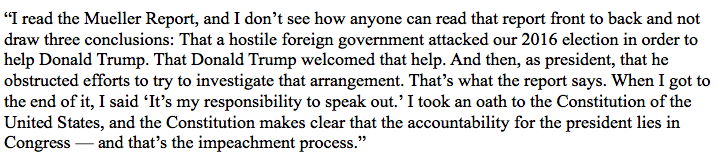 Here's @ewarren's full explanation to reporters in NH this morning for why she's called on the House to launch impeachment proceedings against @realDonaldTrump: