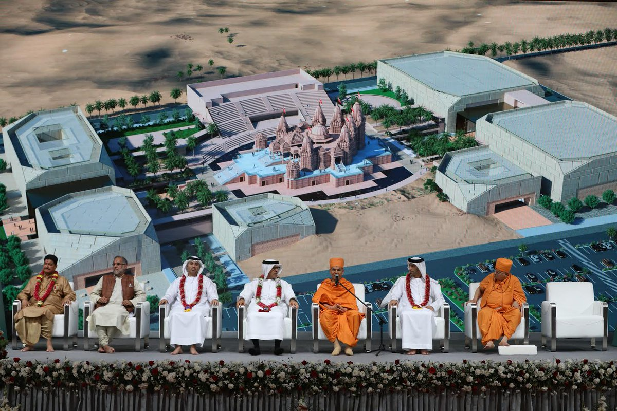 BAPS Hindu Mandir foundation stone-laying ceremony completed, celebrating UAE's commitment to tolerance