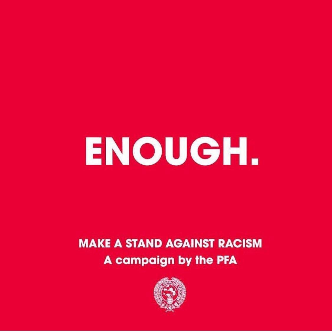 #enough  Professional footballers in England and Wales @PFA took a stand against racism.   We should all take a stand.  React actively when you become a bystander of hateful ideologies, prejudices, xenophobia, racism or antisemitism.   https://www.thepfa.com/news/2019/4/18/enough-pfa-launches-anti-racism-campaign…