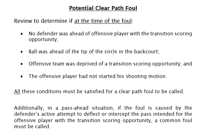 Clear Path Foul Review criteria: