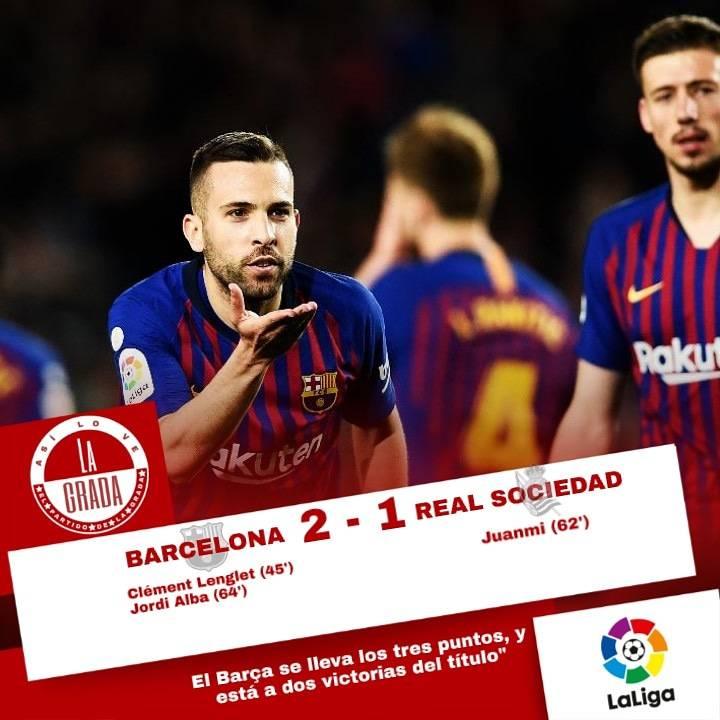 El Barça no falla en casa y se lleva la victoria ante la Real Sociedad 2-1.  #futbol #asilovelagrada #asilovelagradafutbol #barcelona #realsociedad #partidodelagrada #laliga #ligaespañola #barça #fcbarcelona #messi #suarez #lionelmessi #pique #sports #deportes #sabado #saturday