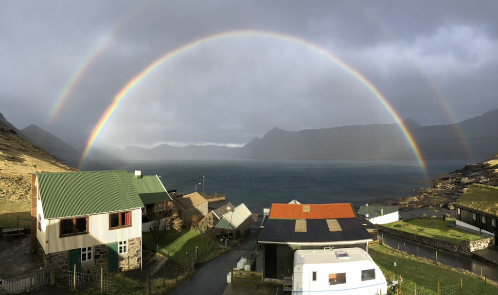 Sometimes the Faroe Islands are outrageously otherworldly. No filter, effects or anything of the sort here - this was genuinely my view a couple of hours ago. #FaroeIslands #wtf #rainbow #doigetadeutschebörseprizeyet?